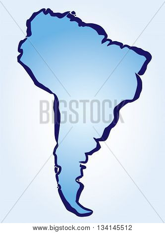 Blue Drawing map of Latin America. Vector Illustration.