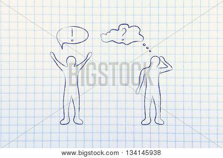 Man With Confident Attitude Vs A Doubtful Person