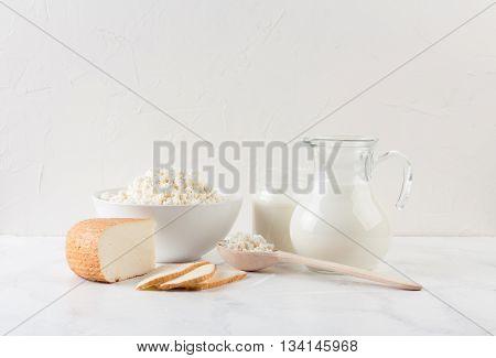 fresh dairy homemade products - cottage cheese goat cheese organic yogurt and milk on white background