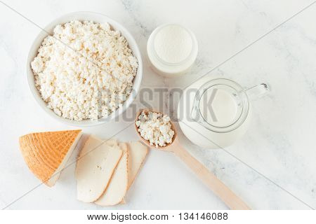 fresh dairy homemade products - cottage cheese goat cheese organic yogurt and milk on white background