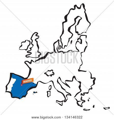 European Union borders, Spain and Madrid. Drawing Vector Illustration