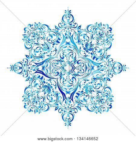 Shiny blue snowflake made of elegant floral pattern
