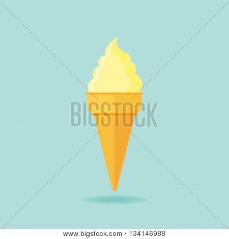 Ice cream cone flat icon. Vector illustration.