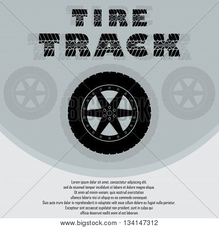 Background with black wheel tire track and sample text