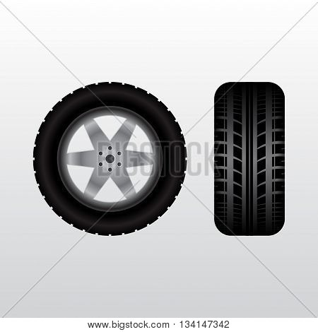 Front and side views of black wheel and tire track