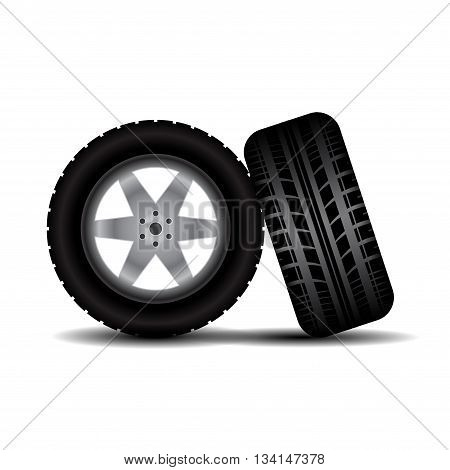 Two car wheels isolated on white background with shadows
