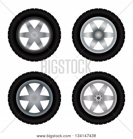 Set of four truck wheels with tire tracks isolated on white