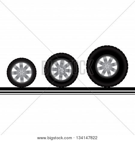 Set of three different car or truck wheels with tire tracks