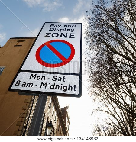 Pay and Display Zone Street Parking Sign
