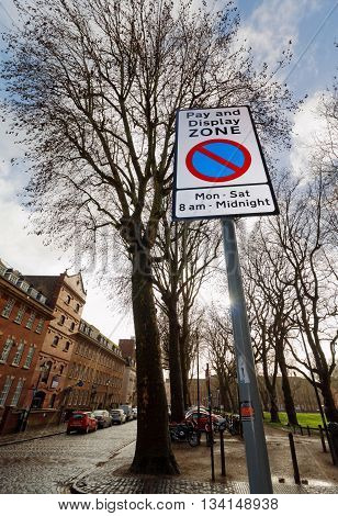 QUEEN SQUARE, BRISTOL, ENGLAND, 22 JAN 2016. Editorial Photograph of Pay and Display Zone Street Parking Sign.