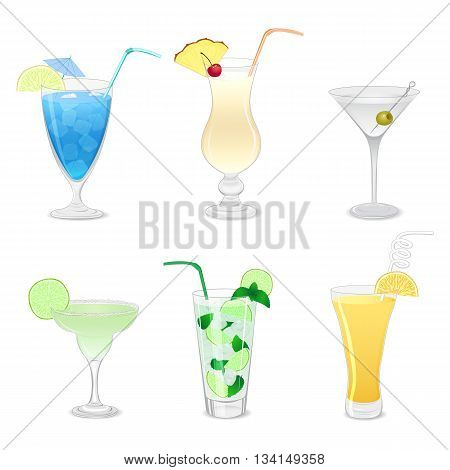Set of different cocktails isolated on white background