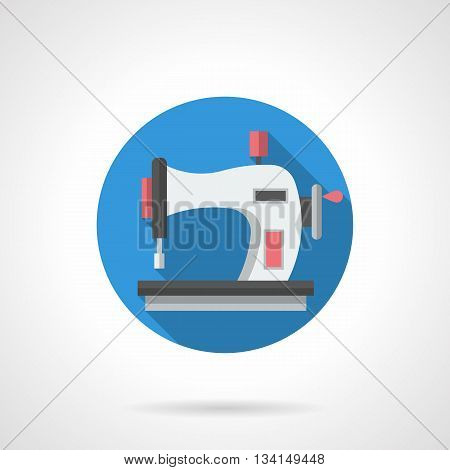 Seamstress and tailoring equipment. Sewing machine pictogram for DIY or hobby blog. Fashion industry. Round flat color style vector icon.