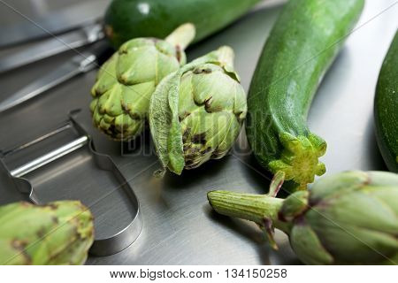 Vegetables and cooking utensils in a restaurant.