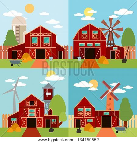 Farm in the village flat Landscape. Natural background, organic farm products. Tree and farm house elements. Set of elements - barn, tractor, building, windy mill, harvest, farming