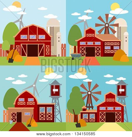 Natural background, organic farm products. Farm in the village flat Landscape. Tree and farm house elements. Set of elements - barn, tractor, building, windy mill, harvest, farming