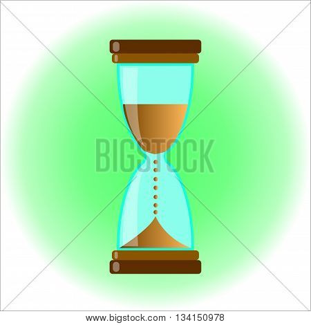 hourglass glass on green background as a symbol of leaking time