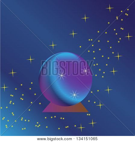 magic ball on a purple-blue background with stars