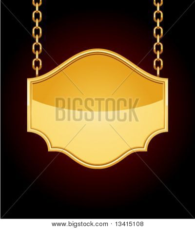 Golden sign on chain. Eps 10