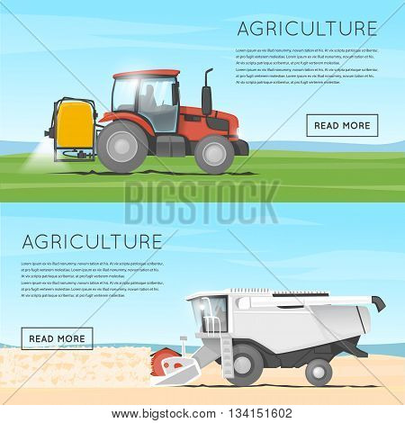 Tractor watering field. Agriculture. Agricultural vehicles. Harvesting, agriculture. Tractor processes the earth. Equipment for agriculture. Combine for harvesting. Flat design vector illustration.