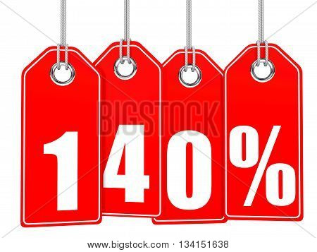 Discount 140 Percent Off. 3D Illustration.