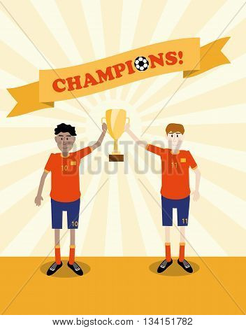 vector illustration of happy soccer players holding champions winner trophy cup