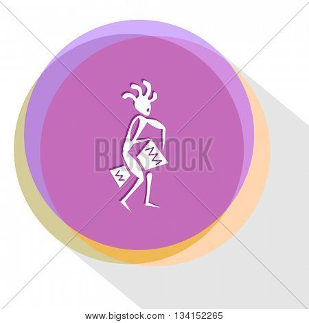 ethnic little man with drum. Internet template. Vector icon.