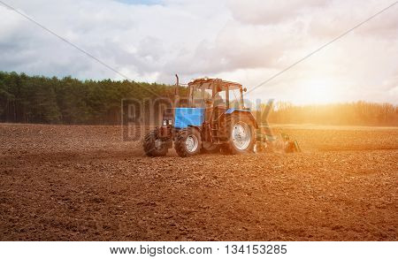 In the early spring morning because of the wood the bright sun ascends.The tractor goes and pulls a plowplowing a field before landing of crops.On the earth dry stalks of a last year's sunflower lie.