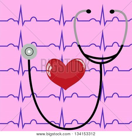 Stethoscope and heart on a pink background and ECG,  medicine