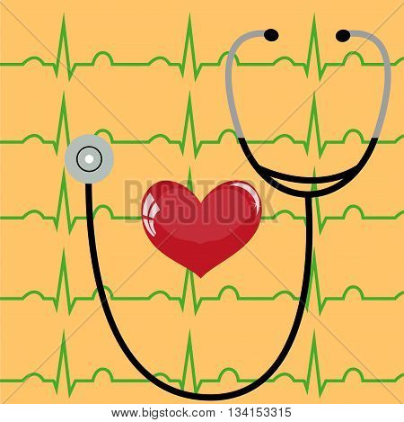 Stethoscope and heart on a yellow background and ECG