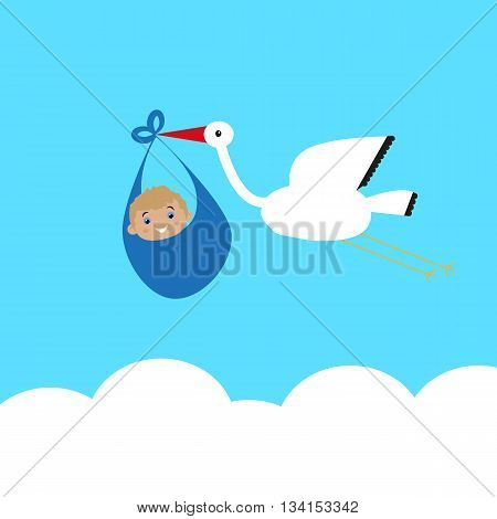 Stork carries a baby in bags above the clouds,congratulations on the completion of the family