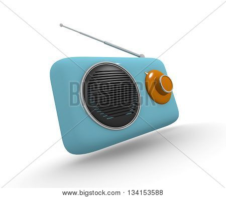 Vintage radio in retro style on a white background 3d rendering