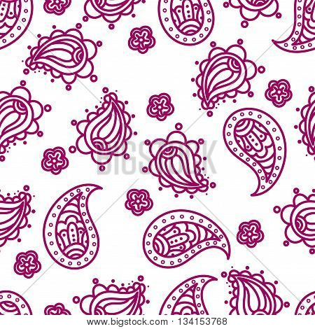 Indian National paisley ornament for cotton linen fabrics. Tribal flowers seamless pattern. Bohemian ornament for taps. Texture for wrapping skins smartphones textile wallpapers surface design