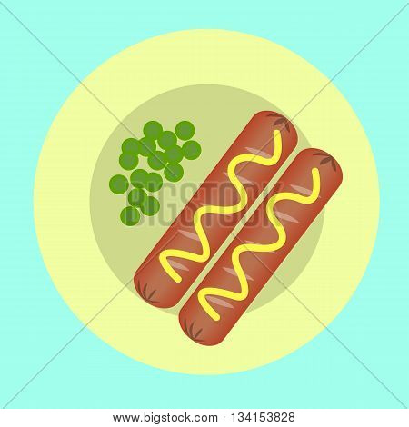 two sausages and peas on a plate for breakfast, a quick snack