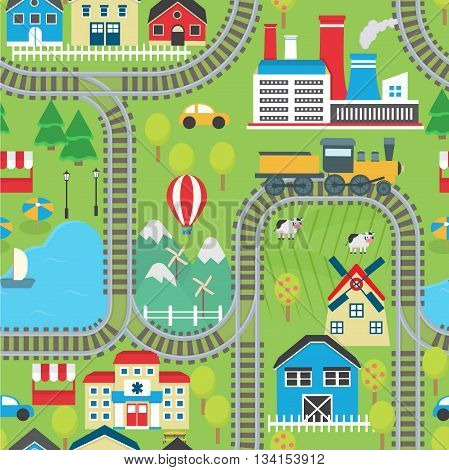 Lovely city landscape train track seamless pattern for play mats, rugs and decoration. Sunny city landscape with mountains, farm, factory, buildings, plants and endless train rails.