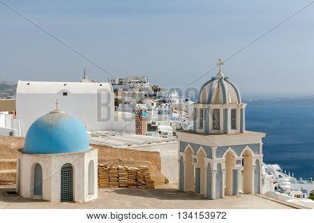 Traditional small white church in Fira on Santorini. Greece.