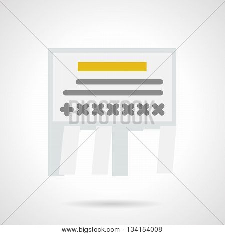 Tear-off paper notice with sample ads and contacts. Advertisement and marketing elements for business services, sale ads. Flat color style vector icon.