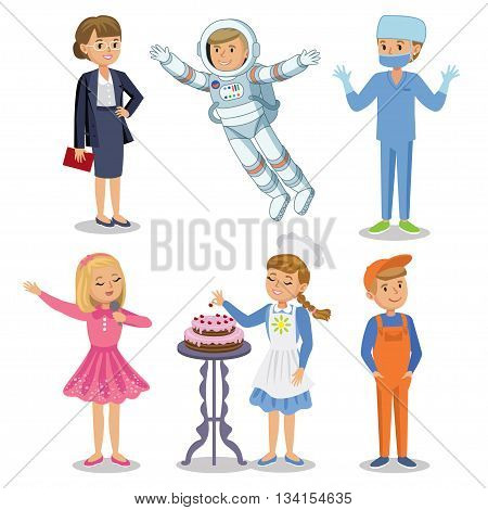 Vector Set of different professions. Kids profession in cartoon style. Businesswoman baker astronaut singer doctor worker