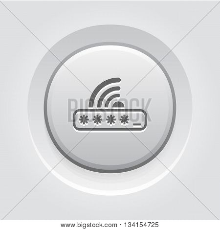 Limited Access Icon. Flat Design. Mobile Devices and Services Concept. Grey Button Design
