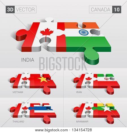 Canada and India, Vietnam, Iran, Thailand, Myanmar Flag. 3d vector puzzle. Set 10.