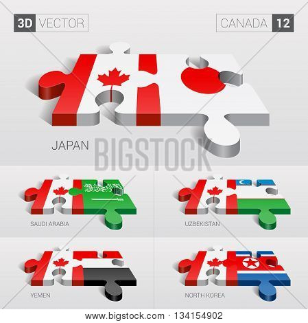 Canada and Japan, Saudi Arabia, Uzbekistan, Yemen, North Korea Flag. 3d vector puzzle. Set 12.