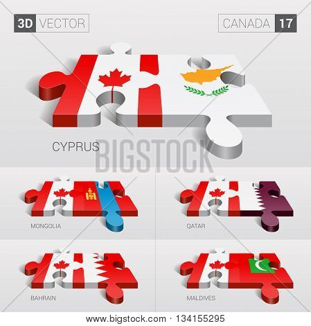 Canada and Cyprus, Mongolia, Qatar, Bahrain, Maldives Flag. 3d vector puzzle. Set 17.