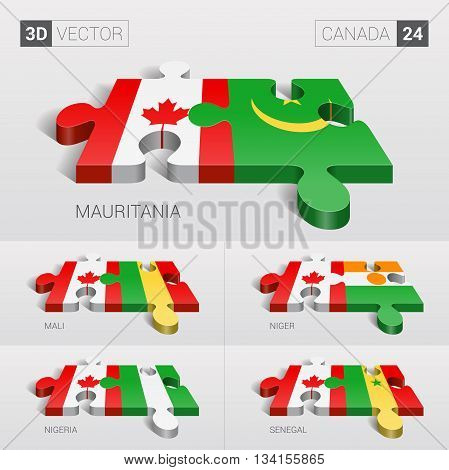Canada and Mauritania, Mali, Niger, Nigeria, Senegal Flag. 3d vector puzzle. Set 24.