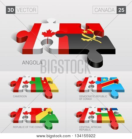 Canada and Angola, Cameroon, Democratic Republic of Congo, Republic of the Congo, Central African Republic Flag. 3d vector puzzle. Set 25.