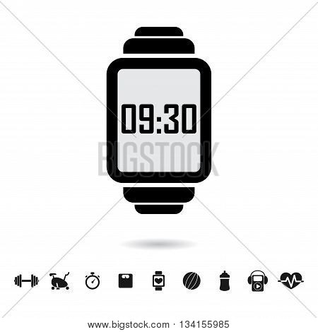 Black smart watch silhouette with different fitness icons