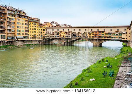 Bridge Ponte Vecchio over the river Arno. Florence Italy Europe
