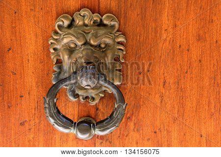 Lion head as a doorknocker on a wooden door
