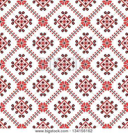 seamless embroidered good like old handmade cross-stitch ethnic Ukraine pattern. Traditional Ukrainian folk art pattern - vyshyvanka called.