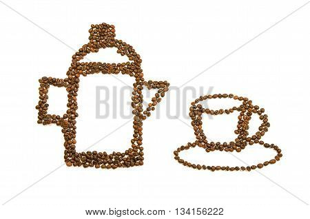 Coffee pot and cup created from a roasted coffee beans on a white background