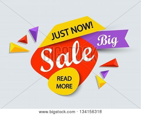 Just now sale banner. Sale and discounts. Vector illustration.