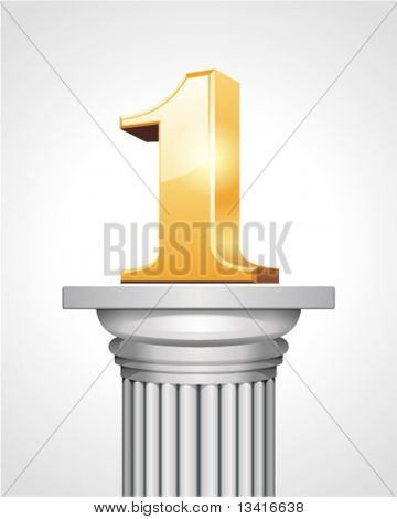 First place gold on white column